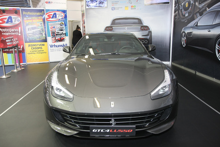 BELGRADE,SERBIA-MARCH 27,2018: Ferrari GTC4 Lusso,690HP at the stand of Serbian TV show SAT at DDOR BG Car Show 06