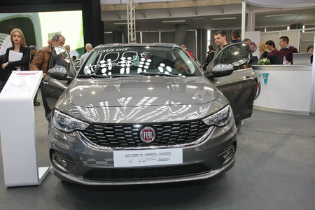 BELGRADE,SERBIA-MARCH 27,2018: Fiat Tipo Sedan 1.4 95HP Lounge at DDOR BG Car Show 06
