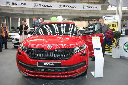 BELGRADE,SERBIA-MARCH 27,2018: Skoda Kodiaq Sportline 2.0 TDI 4x4 DSG at DDOR BG Car Show 06