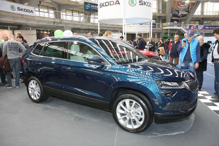 BELGRADE,SERBIA-MARCH 27,2018: Skoda Karoq 2.0 TDI CR DPF 4x4 DSG at DDOR BG Car Show 06