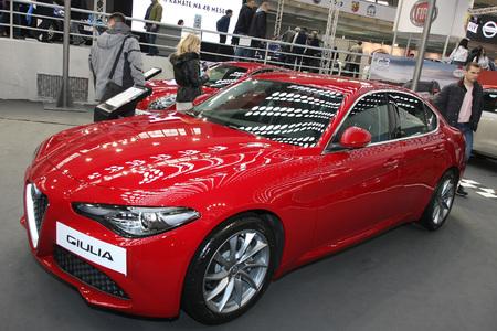 BELGRADE,SERBIA-MARCH 27,2018: Alfa Romeo Giulia Business 2.2 180HP AT at DDOR BG Car Show 06