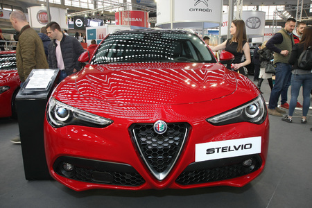 BELGRADE,SERBIA-MARCH 27,2018: Alfa Romeo Stelvio 2.2 210HP AT at DDOR BG Car Show 06 Editorial