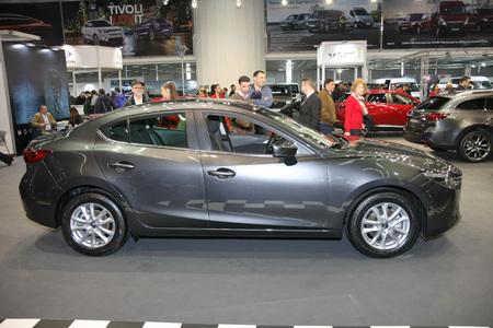 BELGRADE,SERBIA-MARCH 27,2018: Mazda 3  G120 Challenge at DDOR BG Car Show 06
