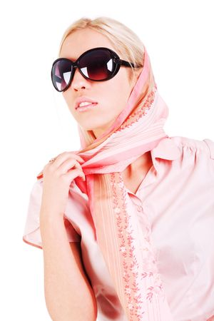Picture of a young charming girl in a scarf and sunglasses photo