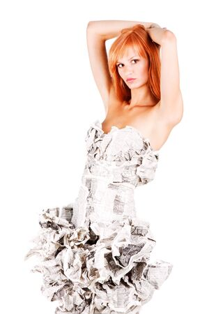 Picture of a beautiful alluring girl in paper dress