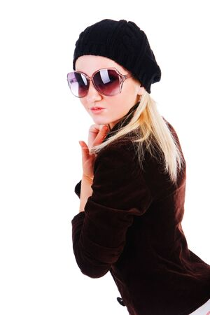 Picture of a beautiful alluring young girl in jacket with sunglassess Stock Photo - 6134157
