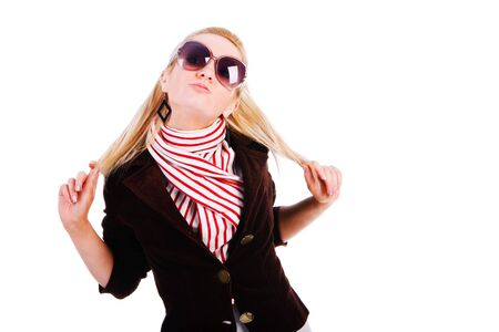 Picture of a beautiful alluring young girl in jacket with sunglassess Stock Photo - 6370492