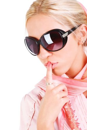 Portrait of a sensuality blond girl in sunglasses photo