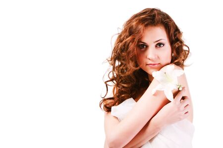 Portrait of a  alluring girl in white on white background. Stock Photo - 6535292