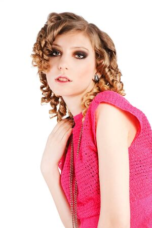 Picture of a beautiful alluring girl in pink blouse Stock Photo