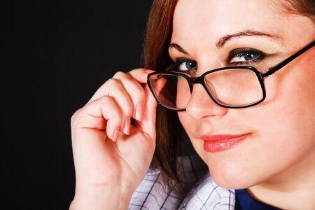 Portrait of a beautiful girl in eyeglassess