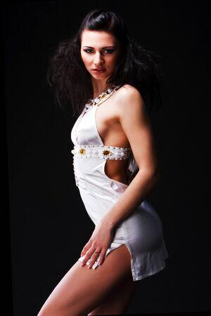 Picture of pretty elegant woman in white dress