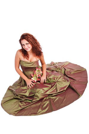 Picture of a beautiful young girl in dress on floor photo