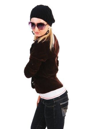 Picture of a beautiful attractive young girl in jacket with glassess photo