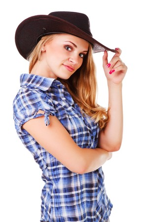 Picture of a charming lady in cowboy hat on white background photo