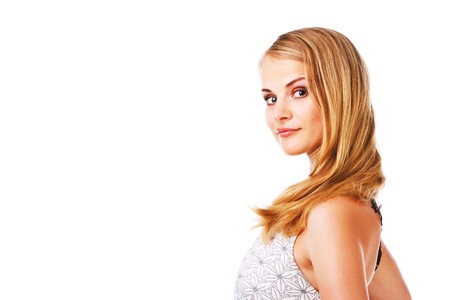 Picture of a beautiful girl in white dress. Isolated on white. Stock Photo