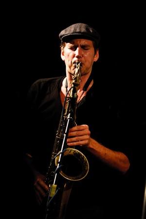 KOKTEBEL, UKRAINE - SEPT 11, 2010: Paul Roges Trio play on scene on September 11, 2010 in Jazz Koktebel Festival, Ukraine.