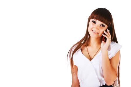 Picture of a beautiful lovely young girl with a phone on white background photo