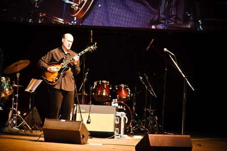 KHARKOV, UKRAINE - APRIL 15: John Scofield Quartet play on scene on April 15, 2010 in ZaJazz Festival, Kharkov, Ukraine. Editorial
