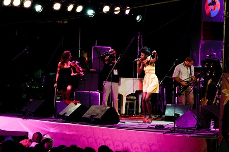 KOKTEBEL, UKRAINE - SEPT 12: Oi Va Voi play on scene on September 12, 2009 in Jazz Koktebel Festival, Ukraine. Editorial
