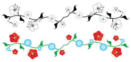 vine border: two versions of a vector illustration design of a floral vine border. One in color and the other in black and white.