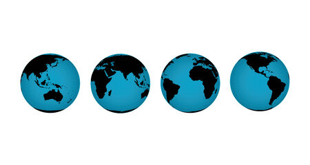 vector illustration of globes of the earth in various rotated views to expose different continents