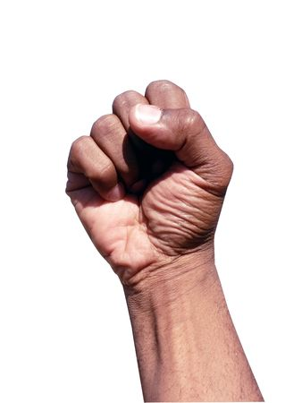 fist clenched: african american hand gesture in a clenched fist Stock Photo