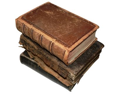 isolated photo of three antique books stacked up.