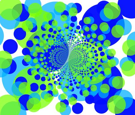 fractal illustration of round colorful blue and green shapes Stock Illustration - 2114455