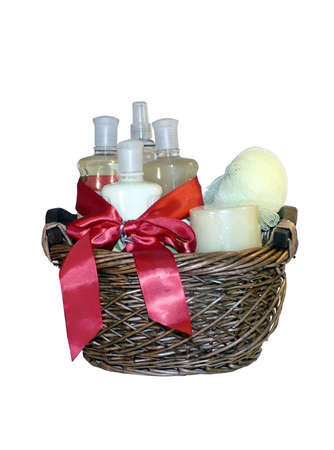 basket: photo of a gift basket full of bath accessories isolated on white background