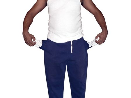 photo of african american man displaying his empty pockets isolated on white background