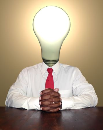 manipulation: idea and thinker businessman personality concept photo manipulation depicting a lightbulb for a head sitting at a desk ready for a meeting