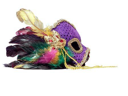 carnaval masker: een geïsoleerde foto van een carnaval masker op een witte achtergrond. kopiëren en gewas ruimte opgenomen Stockfoto