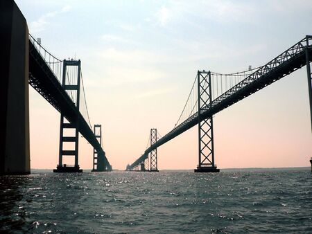 bay: close up of the Chesapeake Bay Bridge of Maryland