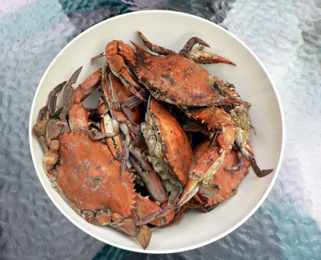 cooked blue crabs in a bowl from the Chesapeake Bay of Maryland