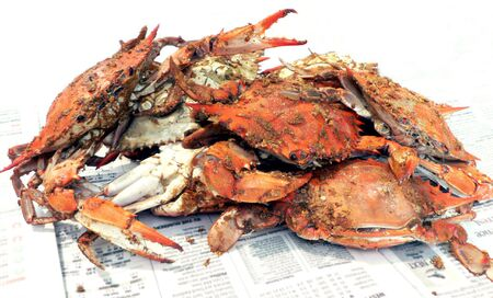 cooked blue crabs Stockfoto