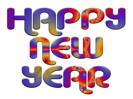 fractal illustration of a happy new year text blending with colorful background illustration