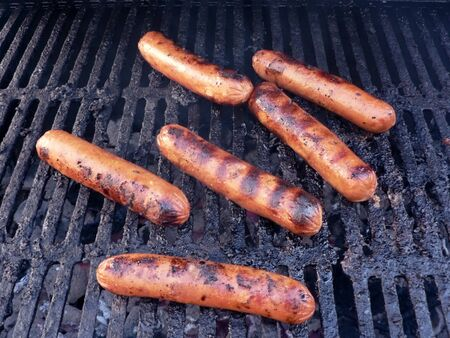 photo of a sausage being cooked on a grill