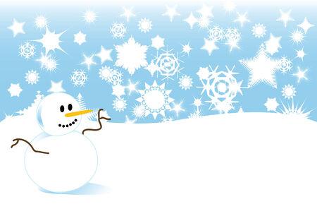 フォア グラウンドで雪だるまと冬の間に、吹雪のベクトル イラスト