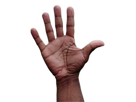 close up photo of a African American male open hand gesture