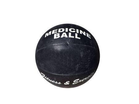 Foto von einer isolierten schwarz Medizinball auf weißem Hintergrund Standard-Bild