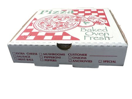pizza box: aislado foto de una caja de pizza Foto de archivo