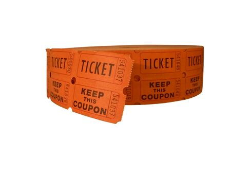 photo of a roll of raffle tickets isolated over a white background