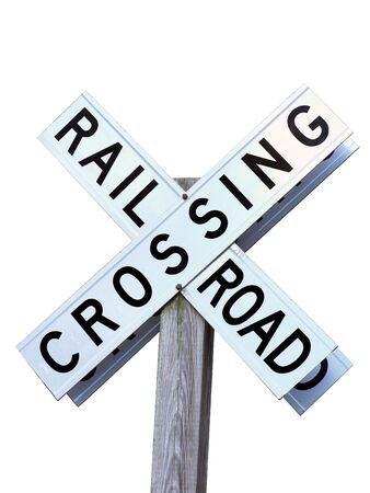 isolated photo of a rail road crossing sign