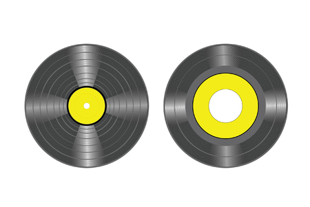 40: vector drawing of LP and 45 vinyl records disc. These drawings are editable so you can customize the labels Illustration