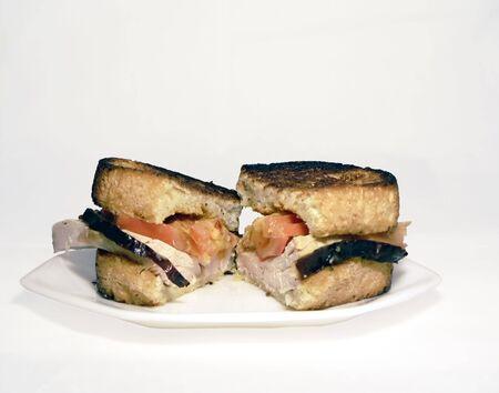 photo of turkey on texas toast sandwich Stock Photo