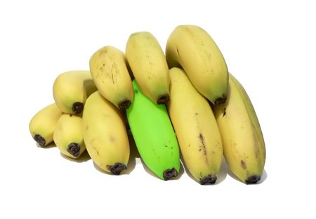 a unique banana in a bunch Stock Photo