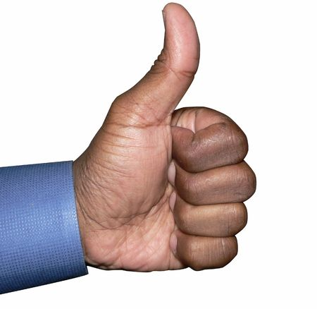 thumbs up hand gesture isolated by clipping path  Reklamní fotografie