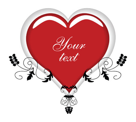 vector drawing of a fancy heart text place holder style ornament design element Çizim