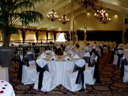 photo of a dining room setup of a wedding reception Stok Fotoğraf - 2257840